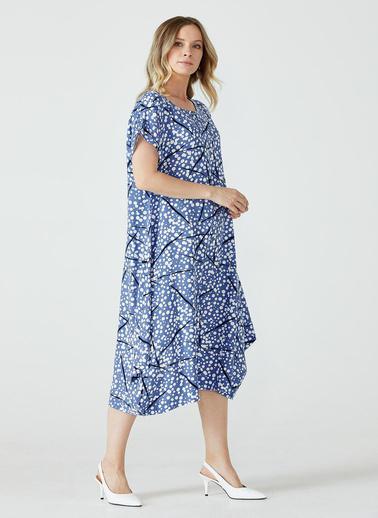 Sementa Desenli Torba Kesim Kadın Elbise - Mavi Mavi